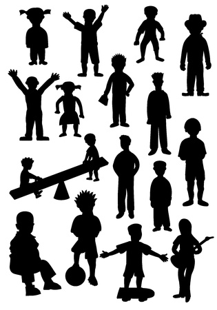 Silhouettes of many different kids and teenagers Vector