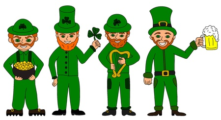 clover face: Cartoons   Illustrations of leprechauns for St  Patrick s Day Illustration
