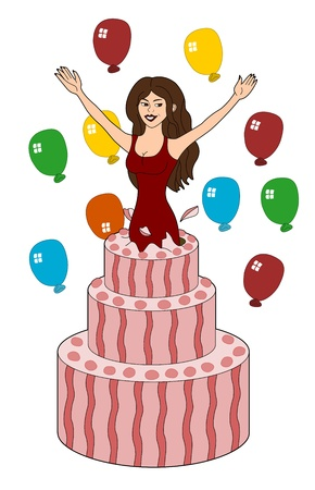 Young woman jumping out of a birthday cake, illustration isolated on a white background Vector