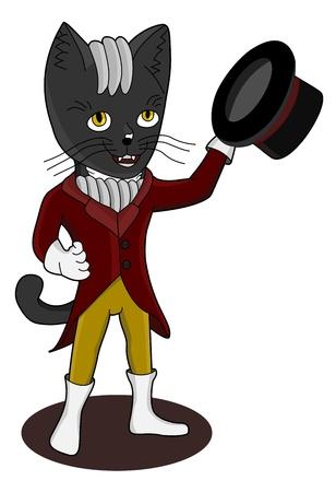 chibi: Elegant high society chibi manga cat waving its hat, isolated on a white background Illustration