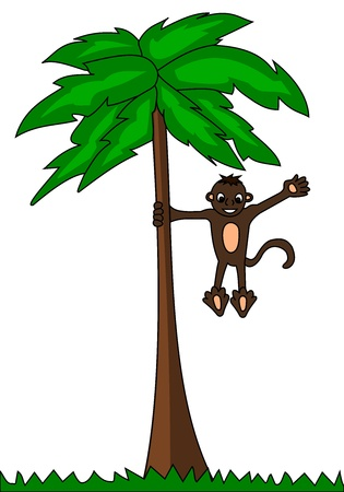 Illustration of monkey climbing and waving from palm tree Vector