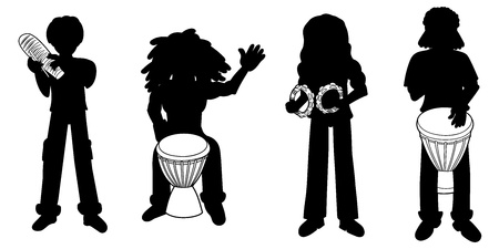 drumming: Silhouette collection of different percussionist isolated on a white background