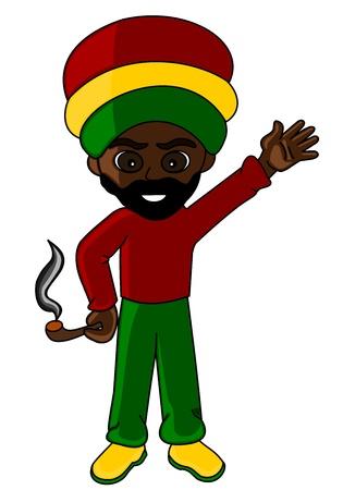 Rastafarian man holding pipe, cartoon   illustration isolated on a white background