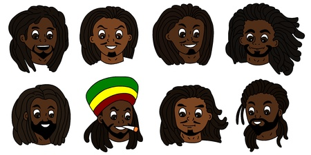 Variety of rasta people heads isolated on a white background