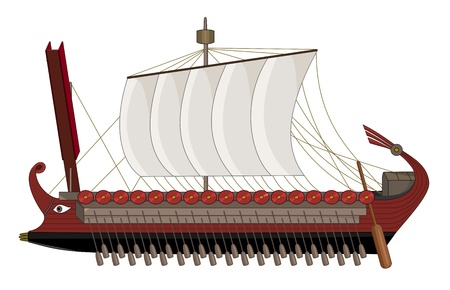 Illustration of ancient Rome warship, isolated on a white background Illustration