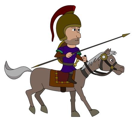 cavalryman: Spanish horseman holding spear - illustration isolated on a white background