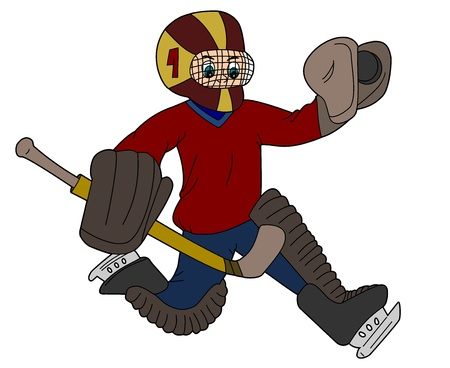 Goaltender cartoon   illustration isolated on a white background