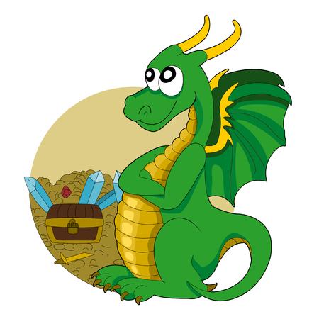 bella: Illustrazione di un drago verde a guardia di un tesoro, isolato su uno sfondo bianco