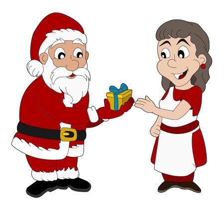 mrs santa claus: Christmas illustration of Santa Claus giving a present to Mrs  Claus Illustration