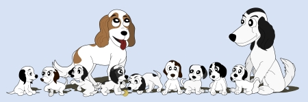 Illustration of a English cocker spaniel dog family - two adult dogs with nine puppies, isolated on light blue background