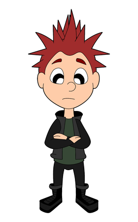 spiked hair: Frowning punk kid illustration isolated on a white background