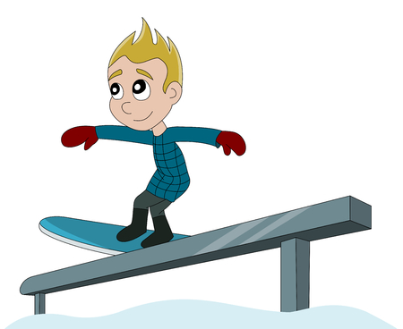 Winter sports Illustration of little child snowboarder, isolated on a white background illustration