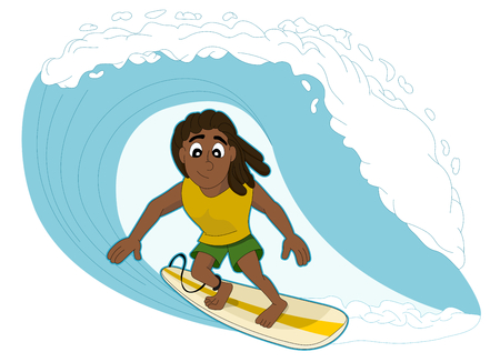 Illustration of rasta surfer surfing a big wave, isolated on a white background illustration