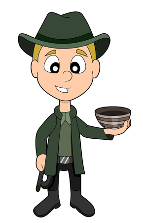 adventurer: Illustration of adventurer archaeologist   treasure hunter kid with hat and whip holding a ceramic bowl, isolated on a white background