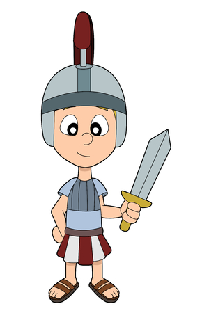 Child dressed in Roman legionnaire costume holding a sword, isolated on a white background