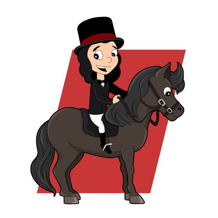 Illustration of a cute little girl with top hat riding a pony, isolated on a white background