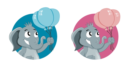Illustration of cute elephants with party balloons, elephant boy has blue balloons, girl has pink balloons; isolated on a white background