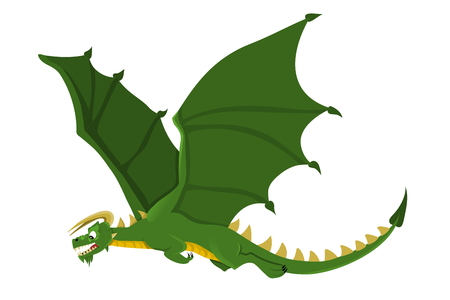 Illustration of a green flying dragon with yellow horns and big wings, isolated on a white background Stock Photo