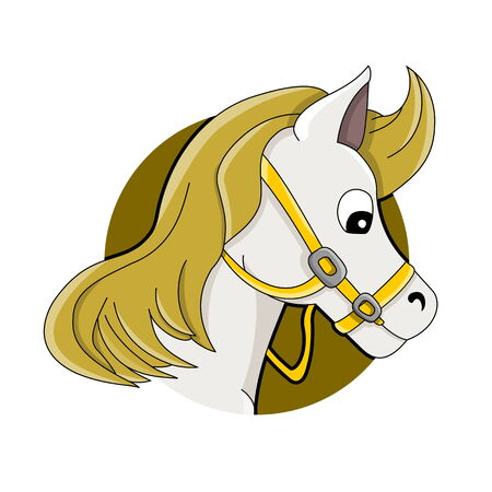 Illustration of horse or pony head, white horse with yellow mane, isolated on a white background