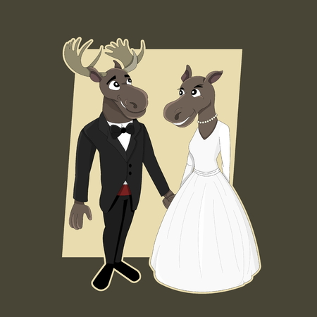 Funny wedding illustration with moose groom and bride, isolated on dark brown background Stock Photo
