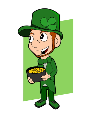 saint paddys: Illustration of a smiling leprechaun wearing a green suit a bow-tie and top hat while holding a cauldron full of gold; Saint Patrick?s Day cartoon isolated on white background Stock Photo