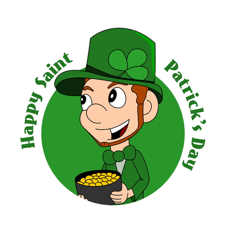 clover face: Illustration of a smiling leprechaun wearing a green suit a bow-tie and top hat while holding a cauldron full of gold; with text ?Happy Saint Patrick?s Day?; isolated on white background Stock Photo