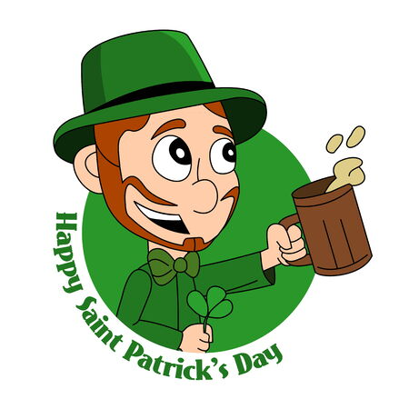 Illustration of a smiling leprechaun wearing a green suit a bow-tie and top hat while holding a shamrock and pint of beer; with text ?Happy Saint Patrick?s Day?; on white background Stock Photo