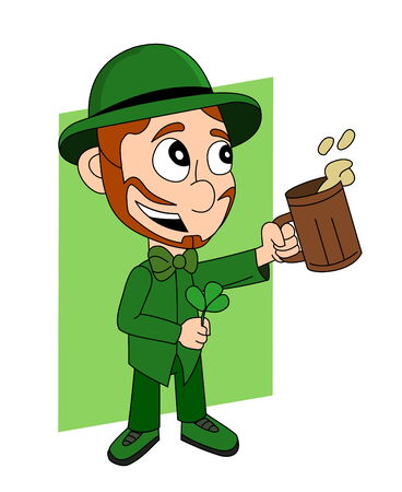 Illustration with a smiling leprechaun wearing a green suit a bow-tie and hat while holding a shamrock and pint of beer; Happy Saint Patrick?s Day? cartoon isolated on white background Stock Photo