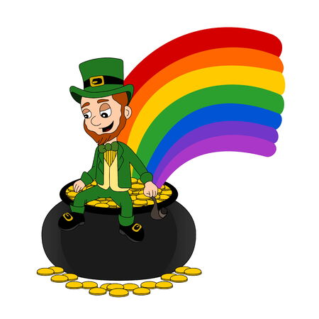 Illustration of a smiling leprechaun wearing a green suit a bow-tie and top hat while sitting on a pot o' gold and holding a pipe, isolated on a white background Stock Photo