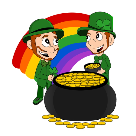 Illustration of a smiling leprechauns wearing a green suits a bow-ties and top hats, with pot of gold and rainbow, isolated on a white background