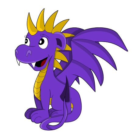 nice smile: Illustration of a cute smiling purple and yellow lady dragon (dragonette) Stock Photo