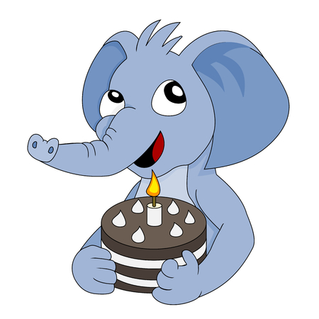 Illustration with cute blue elephant boy holding a birth day cake with one burning candle isolated on a white background Stock Photo