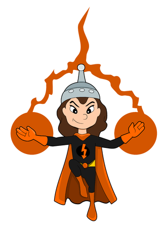 cartoon kids: Illustration of cute superhero girl with electric powers wearing black costume and orange cape, isolated on a white background Stock Photo