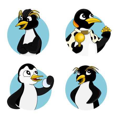 scepter: Illustration set with different penguins, royal and emperor, isolated on a white background