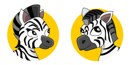 Illustration of different zebra heads, isolated on a white background