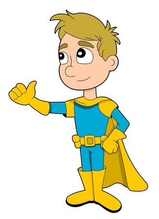 superpowers: Illustration of cute little boy in blue costume and yellow cape giving a thumbs up, isolated on white background Stock Photo