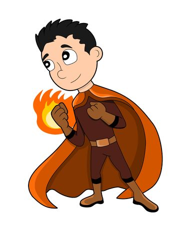 superpowers: Illustration of cute superhero boy with fire-based powers, wearing orange costume, isolated on white background Stock Photo