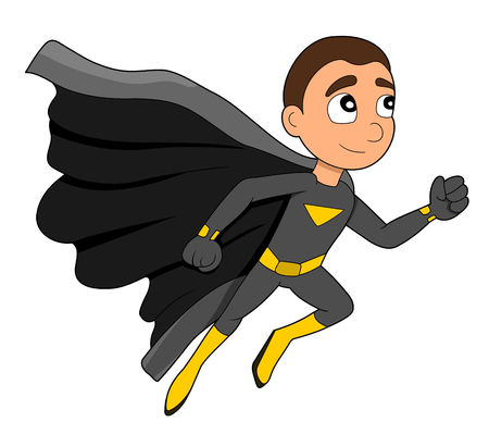 superpowers: Illustration of cute superhero boy speedster wearing gray and yellow costume and black cape Stock Photo