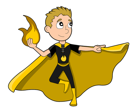 Illustration of cute superhero boy with fire-based powers, wearing black costume and yellow cape, isolated on white background