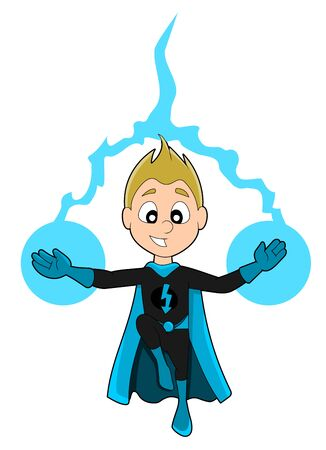 superpowers: Illustration of cute superhero boy with electric powers wearing black costume and blue cape, isolated on a white background