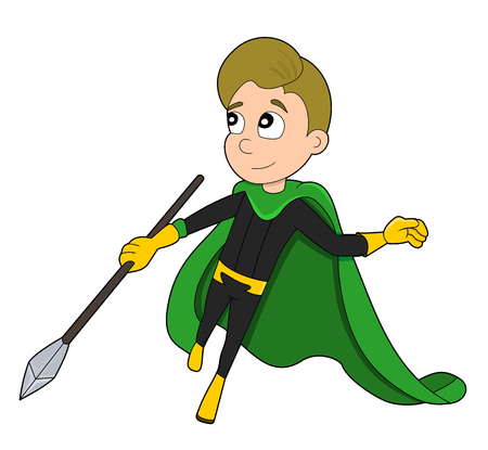 Illustration of jumping superhero wearing black and yellow costume and green cape with spear, isolated on a white background Stock Photo