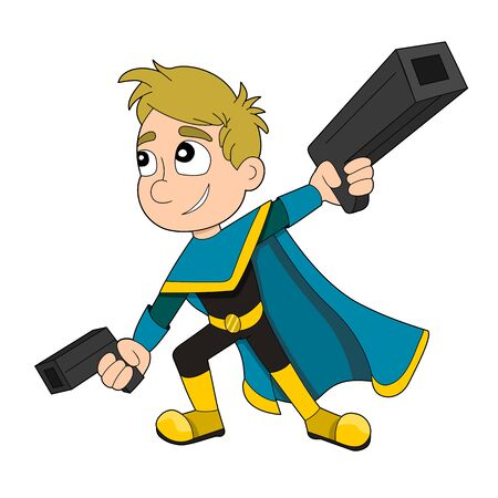 Illustration of a cute smiling super hero boy with guns and blue and yellow cape, isolated on a white background