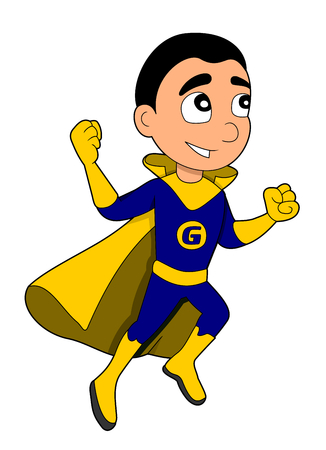 superpowers: Illustration of cute little flying boy in blue costume and yellow cape, isolated on white background