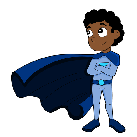 superpowers: Illustration of cute African American superhero boy wearing blue costume and cape, isolated on a white background Stock Photo