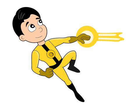 superpowers: Illustration of cute superhero with magic powers wearing yellow and black costume, isolated on a white background Stock Photo