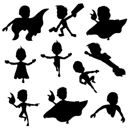 capes: Collection of silhouettes of children dressed as super heroes, isolated on a white background