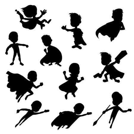 Collection of silhouettes of children dressed as super heroes, isolated on a white background
