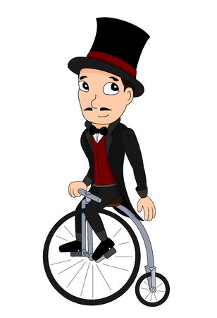 velocipede: Illustration of a man with a top hat riding a penny-farthing, 19th century velocipede, isolated on a white background