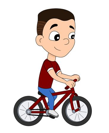 Illustration of a cute little boy cyclist riding a red bike, isolated on a white background Stock Photo