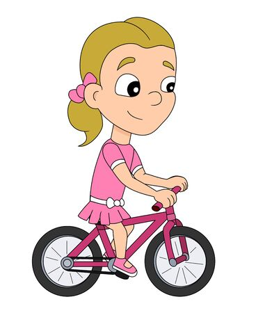Illustration of a cute little girl in pink dress riding a bike, isolated on a white background Stock Photo